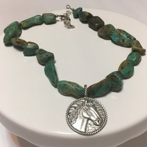 BARSE-925-STERLING SILVER TURQUOISE NECKLACE